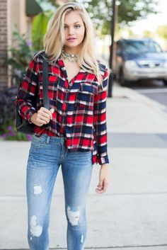 Check Me Out Plaid Top – Swoon Boutique