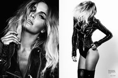Fashion shoot with leather jacket. Headshot with body picture, movement with hair. Black and white, fashion photography, modeling.
