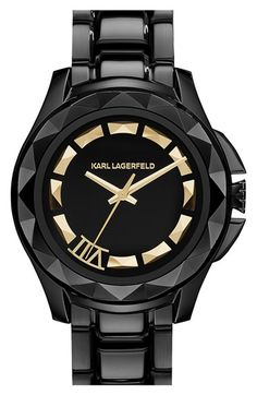 KARL LAGERFELD '7' Faceted Bezel Bracelet Watch, 44mm x 53mm (Nordstrom Online Exclusive) available at #Nordstrom