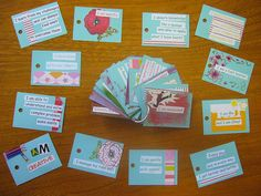 Affirmation Cards for Children by limevelyn, via Flickr  I love the idea of doing these with the kids.  Depression runs in our family so I believe acquiring tools and learning how to positively program your brain needs to start early!