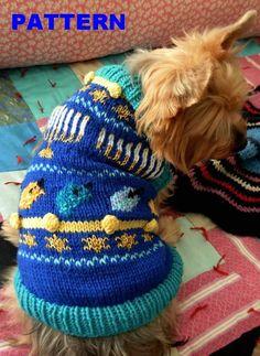 O HANUKKAH Dog Sweater Knitting Pattern - SO stinking cute.