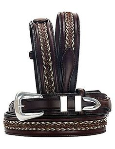 ZEP-PRO NCAA boys Ncaa Virginia Cavaliers Zep-pro Childrens Leather Concho Belt Brown