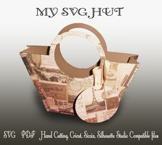 3D SVG PDF Gift Bag  round handle style DIGITAL download by MySVGHUT on Etsy