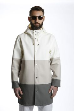 PARKA LARGE STRIPE WHITE SAND GREY STUTTERHEIM