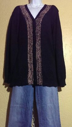 CJ Banks~Black Button Down Sweater~Plus Size 3X~NWT Retail $54.95 #CJBanks #pulloversweater