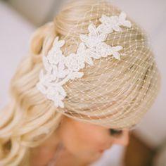 Beautiful Petite Pearl Beaded Bird Cage Bridal / Debutante Veil - Ivory