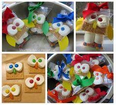 Life with the Depews: Owl Smores Tutorial Owl Snacks, Owl Treats, Cute Snacks, Owl 1st Birthdays, Owl Birthday Parties, Birthday Ideas, Owl Parties, 2nd Birthday, School Treats