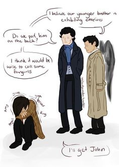 """SuperWhoLock. The best part is not that John is Sherlock's moral or emotional or human compass, but that bringing in a fangirl is suggested and Sherlock says, """"I'll get John."""""""