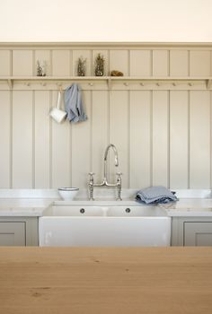 The tongue and grooved panel is a new look for us and we love it in this deVOL Shaker Kitchen.
