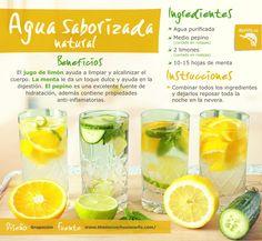 ¡Prepara tu agua saborizada natural con pepino, limón y menta! Esta agua además de desintoxicar tu organismo, lo limpia y lo mantiene sano gracias a los múltiples beneficios de estos ingredientes. #nutricion #verduras #frutas #alimentos #salud #beneficios #tips #saludable