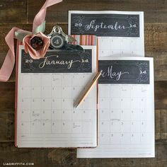 Chalk It Up! Printable Calendar