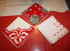 Trio of Vintage Valentine's Day Red Hankies: by FelicesFinds