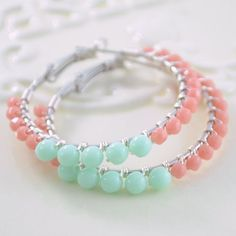 Making Jewellery magazines blog post is a must read!  Picture:Mint Green And Coral Hoop Earrings by LivEveryDay