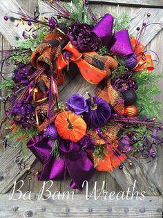 Deluxe Halloween Wreath Modern Halloween Wreath by BaBamWreaths