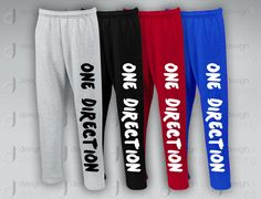 One Direction sweatpants by designandclothing on Etsy, $37.95 etsy. I want the gray ones
