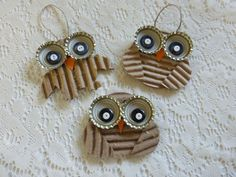 Diy Crafts - Owl decoration Recycled Corrugated Cardboard by NaturesWalkStudio Owl Crafts, Animal Crafts, Holiday Crafts, Art For Kids, Crafts For Kids, Arts And Crafts, Owl Ornament, Ornaments, Cardboard Crafts