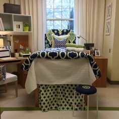 "Dorm-Decor presents the Designer Dorm Room! We love this modern Chartreuse and Navy color story. ""Step Up"" with the adorable monogrammed stool. And don't forget the desk cubby!! Vertical storage is a must have in every college student's home away from home!"