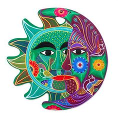 Ceramic wall adornment, 'Emerald Floral Eclipse' - Handcrafted Mexican Sun and Moon Ceramic Placque Green Wall Art, Bird Wall Art, Mexican Wall Art, Mexican Paintings, Arte Quilling, Ceramic Wall Art, Sun Art, Portraits, Aboriginal Art