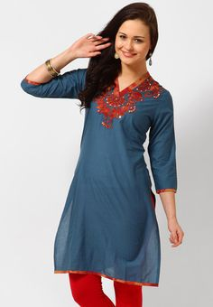 3/4Th Sleeve Embroidered Blue Kurti Online Shopping - Magnetic Designs | MA304WA78OUBINDFAS