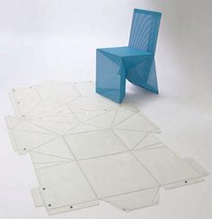 The origami chair was created by New York designer James Deiter. Just like regular origami, the strength in this chair comes in the clever folds, formed from a single sheet. Chaise Origami, Origami Chair, Origami Furniture, Cardboard Furniture, Furniture Decor, Furniture Design, Cardboard Chair, Cardboard Design, Design Origami