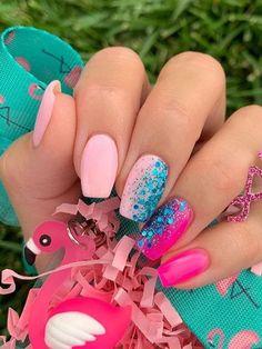 May Nails, Hair And Nails, Pink Tip Nails, Bright Pink Nails, Cute Acrylic Nails, Cute Nails, Dipped Nails, Pretty Nail Art, Spring Nails