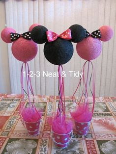 1-2-3 Neat and Tidy: DIY Minnie/Mickey Mouse Centerpieces