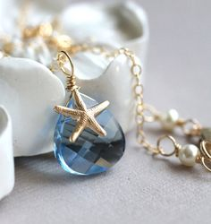 Swaroski Crystal starfish necklace