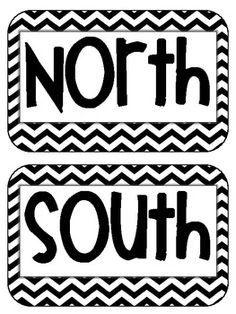 Cardinal Directions Signs Maps Geography black chevron {freebie} from Growing Firsties!