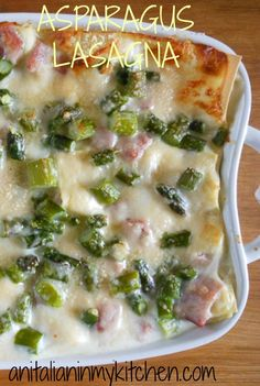 One of the best authentic baked lasagna recipes, a delicious white sauce Asparagus Lasagna recipe, creamy and tasty/ anitalianinmykitchen.com