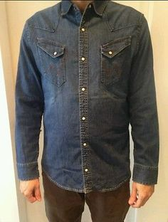 Wrangler Denim Shirt Slim Fit Toast ASOS Hipster Urban Outfitters Size L
