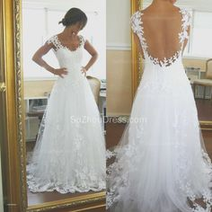 Open Back Wedding Dresses with Bow - Awesome Open Back Wedding Dresses with Bow, A Line Scalloped V Neck Keyhole Lace Wedding Dress Open Back