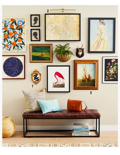 Eclectic Gallery Wall, Gallery Wall Layout, Gallery Wall Frames, Frames On Wall, Eclectic Wall Decor, Gallery Wall Bedroom, Gallery Walls, Gallery Wall Shelves, Eclectic Frames