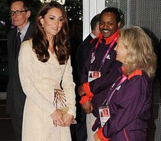 The Duchess of Cambridge meets volunteers at a reception at the Olympic Stadium ahead of the opening ceremony for the London 2012 Paralympic Games, 29 August 2012.