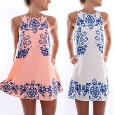 239306892d Hot sale 2015 New Fashion new elegant sleeveless retro Ceramic print dress  femme vestido round Neck casual women summer dress - ZKKOO