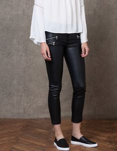 Leather-look trousers with zip - TROUSERS - WOMAN | Stradivarius Россия