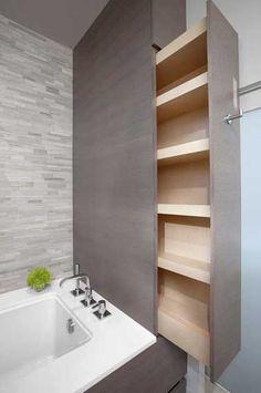 Idée décoration Salle de bain  Rangement de salle de bain avec meuble gain de place