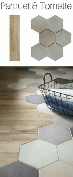 A trendy alliance for the floor: parquet & tomette Deco Design, Floor Design, New Kitchen, Kitchen Wood, Kitchen Tiles, Kitchen Cabinets, Shower Cabinets, Kitchen Flooring, Hallway Flooring