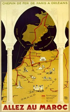 Casablanca Morocco Map Travel Atlas Tourism Trip Vintage Poster Repro Free s H Morocco Travel, Africa Travel, Vintage Travel Posters, Vintage Ads, Tangier Morocco, Moroccan Theme, Retro Poster, Railway Posters, Advertising Poster