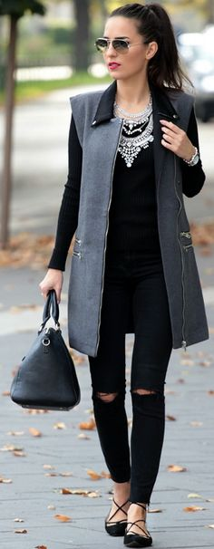 Lace-up Balerinas - Mango Black Ripped Jeans - Zara Black Sweater - Impress Grey Sleevless Coat - Impress Fall Street Style Inspo by Style and Blog