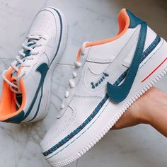 Shop Women's Nike Blue White size 8 Sneakers at a discounted price at Poshmark. Souliers Nike, Sneakers Fashion, Fashion Shoes, Fashion Outfits, Tenis Nike Air, Nike Shoes Air Force, Sneaker Store, Moda Sneakers, Aesthetic Shoes