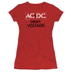"""Checkout our #LicensedGear products FREE SHIPPING + 10% OFF Coupon Code """"Official"""" Acdc / High Voltage Stencil-short Sleeve Junior Sheer - Acdc / High Voltage Stencil-short Sleeve Junior Sheer - Price: $34.99. Buy now at https://officiallylicensedgear.com/acdc-high-voltage-stencil-short-sleeve-junior-sheer"""