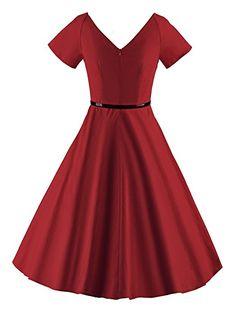 Luouse Rétro Vintage années 50 's Style Audrey Hepburn Rockabilly Swing, Robe de Bal à Manches Courtes avec Ceinture - WineRed - Small
