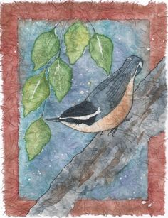 Nuthatch Batik Watercolor on Rice Paper by NatureArtbylynn on Etsy, $45.00