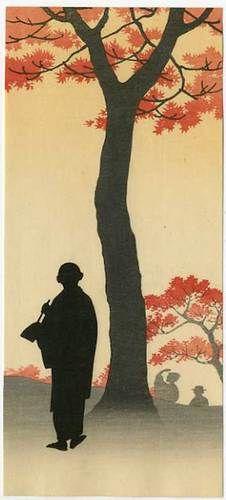 Koho Japanese Woodblock Print Drawing Under A Maple Tree in Spring 1910s | eBay