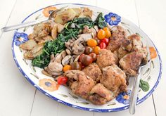 Chicken Florentine - Deconstructed:  Seared Chicken with fried potatoes, sauteed spinach, mushrooms and heirloom grape tomatoes