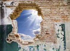 PHOTOWALL / Blue Sky in an Old Wall (e40660)   輸入壁紙専門店 WALPA