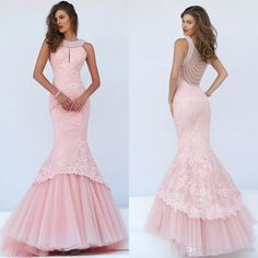 Elegant Pink Mermaid Lace Pageant Dresses 2017 New Fashion Halter Neck Pearls Beading Sexy Long Formal Evening Dress Party Gowns Online with $125.63/Piece on Butterfly888's Store | DHgate.com