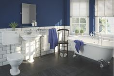Bathroom, Simple And Elegant Montagu Bathroom Ideas For Bathroom With Double Small Windows And Dark Blue Wall And Black Floor ~ Appealing and Charming Bathroom Suites B&Q Ideas Victorian Style Bathroom, Victorian Toilet, Traditional Bathroom Suites, Straight Baths, Dark Blue Walls, Roll Top Bath, Classic Bathroom, Black Floor, Small Windows