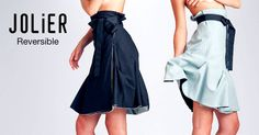 Jolier Lily black-teal. Double side wrap skirt with black ribbon belt. By simply turning the skirt inside out you can change the colour from office to party from casual to outstanding! Buy online at www.jolier.com Ribbon Belt, Black Ribbon, Reversible Dress, Inside Out, Turning, Teal, Lily, Change, Colour