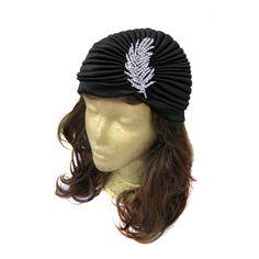 Stretch Turban Hat Black Turban Hat Head Wrap by curtainroad